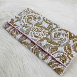 Lilly Pulitzer beaded gold white beaded clutch
